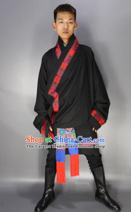 Chinese Traditional National Ethnic Black Tibetan Robe Zang Nationality Folk Dance Costumes for Men
