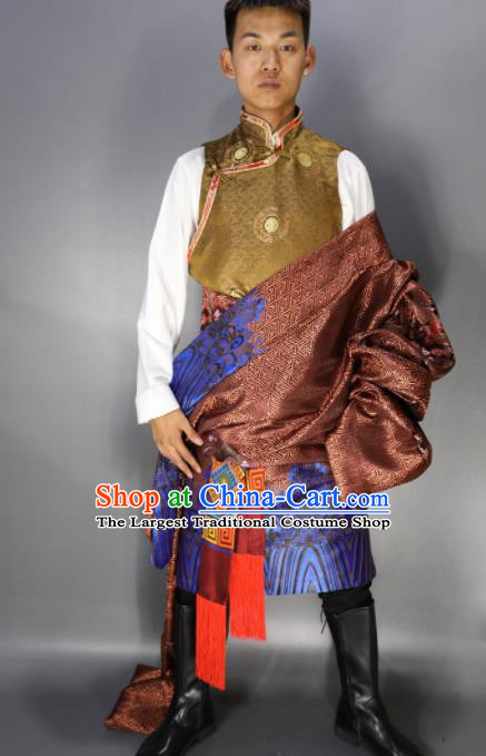 Chinese Traditional National Ethnic Bronze Tibetan Robe Zang Nationality Folk Dance Costumes for Men