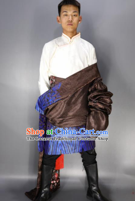 Chinese Traditional National Ethnic Brown Tibetan Robe Zang Nationality Folk Dance Costumes for Men