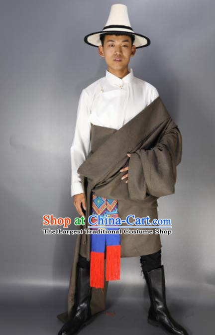 Traditional Chinese National Ethnic Grey Tibetan Robe Zang Nationality Folk Dance Costumes for Men