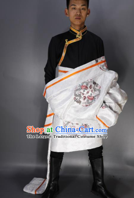 Traditional Chinese National Ethnic Embroidered White Tibetan Robe Zang Nationality Folk Dance Costumes for Men