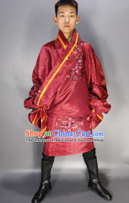 Traditional Chinese National Ethnic Embroidered Red Tibetan Robe Zang Nationality Folk Dance Costumes for Men