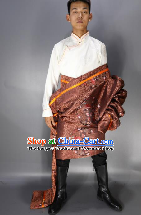 Traditional Chinese National Ethnic Embroidered Bronze Tibetan Robe Zang Nationality Folk Dance Costumes for Men