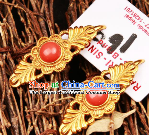 Chinese Traditional Ethnic Tibetan Ear Accessories Zang Nationality National Red Earrings for Women