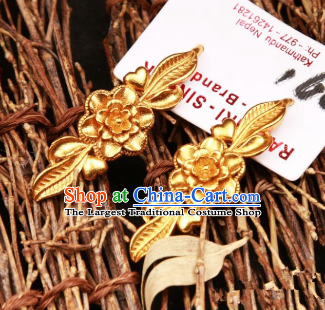 Chinese Traditional Ethnic Tibetan Ear Accessories Zang Nationality National Golden Flower Earrings for Women