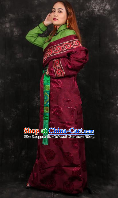 Chinese Traditional Tibetan Ethnic Bride Wine Red Brocade Robe Zang Nationality Heishui Dance Costume for Women