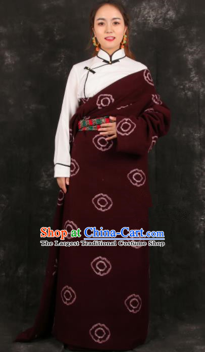 Chinese Traditional Tibetan Ethnic Bride Robe Zang Nationality Heishui Dance Costume for Women