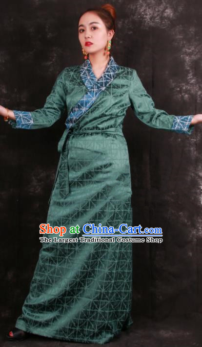 Chinese Traditional Tibetan Ethnic Green Brocade Dress Zang Nationality Heishui Dance Costume for Women
