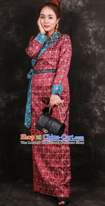 Chinese Traditional Tibetan Ethnic Red Brocade Dress Zang Nationality Heishui Dance Costume for Women