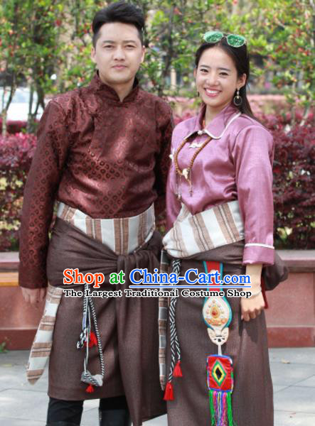 Chinese Traditional Tibetan Clothing Zang Nationality Heishui Dance Ethnic Costumes for Women for Men