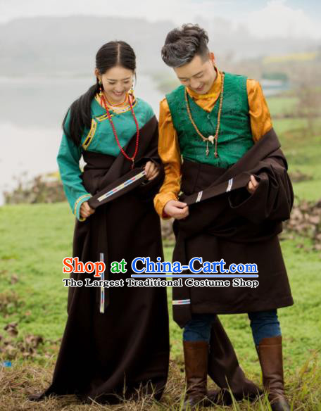 Chinese Traditional Tibetan Couple Deep Brown Robes Zang Nationality Heishui Dance Ethnic Costumes for Women for Men