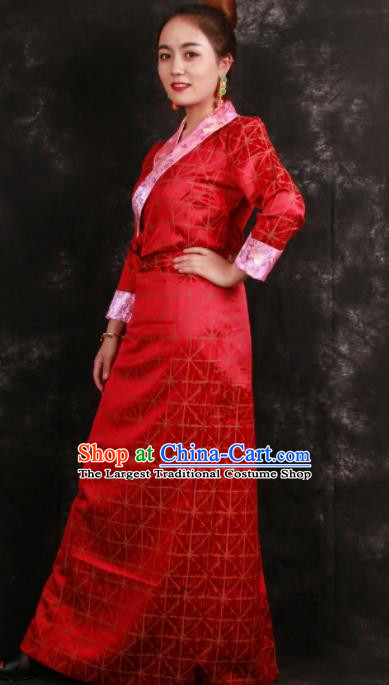 Chinese Traditional Ethnic Red Tibetan Dress Zang Nationality Heishui Dance Costume for Women