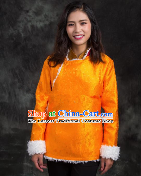 Chinese Traditional Ethnic Female Golden Tibetan Jacket Zang Nationality Heishui Dance Costume for Women