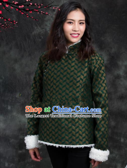 Chinese Traditional Ethnic Female Green Tibetan Jacket Zang Nationality Heishui Dance Costume for Women