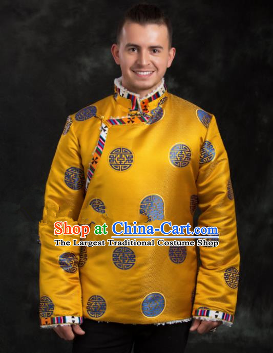 Chinese Traditional Tibetan Golden Brocade Cotton Padded Jacket Zang Nationality Ethnic Costume for Men