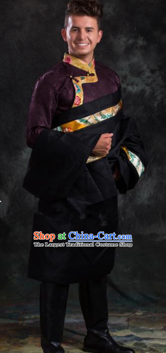Chinese Traditional Black Tibetan Robe Zang Nationality Ethnic Folk Dance Costume for Men