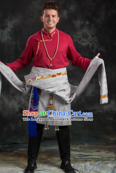 Chinese Traditional Tibetan Robe Zang Nationality Ethnic Folk Dance Costume for Men