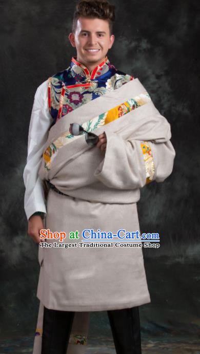 Chinese Traditional White Tibetan Robe Zang Nationality Ethnic Folk Dance Costume for Men