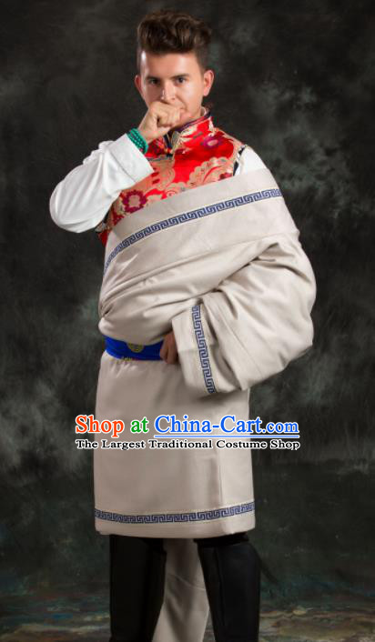 Chinese Traditional Beige Tibetan Robe Zang Nationality Ethnic Folk Dance Costume for Men