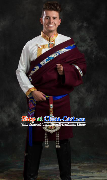 Chinese Traditional Wine Red Tibetan Robe Zang Nationality Ethnic Folk Dance Costume for Men