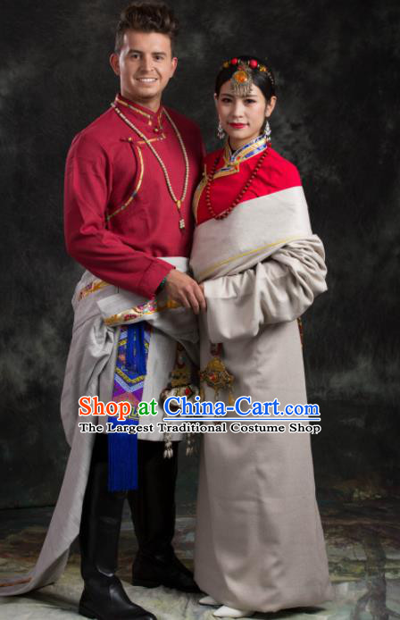 Chinese Traditional Couple Tibetan Robe Zang Nationality Ethnic Folk Dance Costume for Women for Men