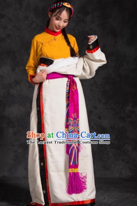 Chinese Traditional Ethnic Female White Tibetan Robe Zang Nationality Heishui Dance Costume for Women