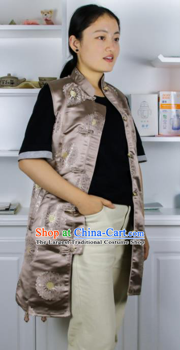 Chinese Traditional National Ethnic Khaki Tibetan Vest Zang Nationality Costume for Women