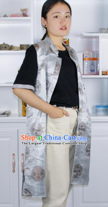 Chinese Traditional National Ethnic Argent Tibetan Vest Zang Nationality Costume for Women