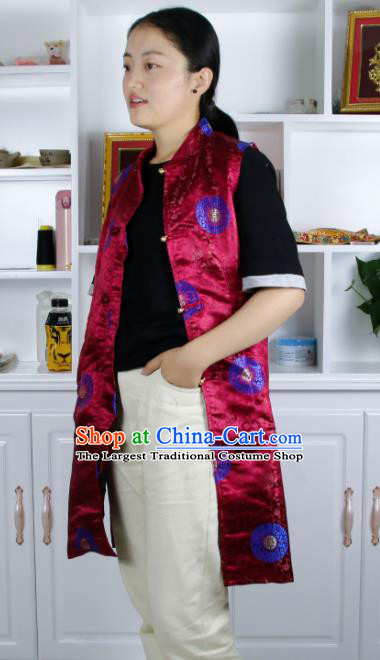 Chinese Traditional National Ethnic Wine Red Tibetan Vest Zang Nationality Costume for Women