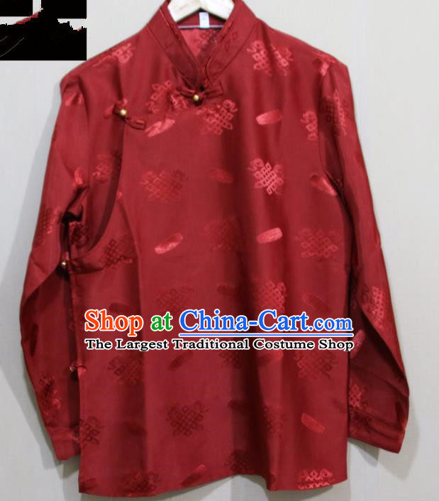 Chinese Traditional Tibetan Wine Red Shirt Zang Nationality Ethnic Folk Dance Costume for Men