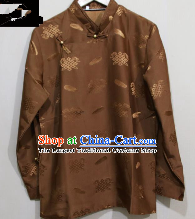 Chinese Traditional Tibetan Brown Shirt Zang Nationality Ethnic Folk Dance Costume for Men