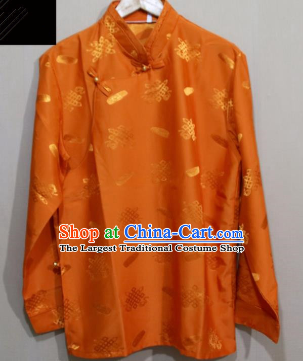 Chinese Traditional Tibetan Orange Shirt Zang Nationality Ethnic Folk Dance Costume for Men
