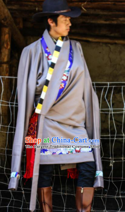 Chinese Traditional National Tibetan Robe Zang Nationality Ethnic Folk Dance Costume for Men