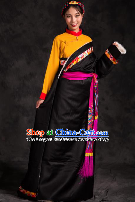 Chinese Traditional Ethnic Female Black Tibetan Robe Zang Nationality Heishui Dance Costume for Women