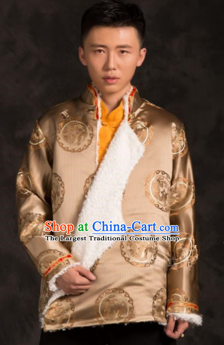 Chinese Traditional Tibetan Golden Brocade Jacket Zang Nationality Wedding Ethnic Costume for Men