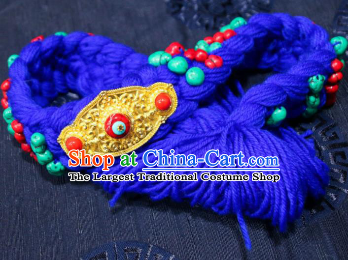 Chinese Traditional Ethnic Tibetan Hair Accessories Zang Nationality National Blue Woolen Yarn Hair Clasp for Women