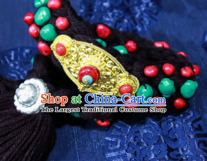 Chinese Traditional Ethnic Tibetan Hair Accessories Zang Nationality National Black Woolen Yarn Hair Clasp for Women