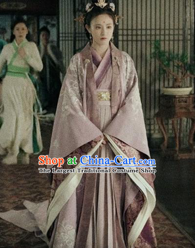 Traditional Chinese Ancient Drama Imperial Consort Replica Costume Tang Dynasty Palace Embroidered Hanfu Dress and Headpiece for Women