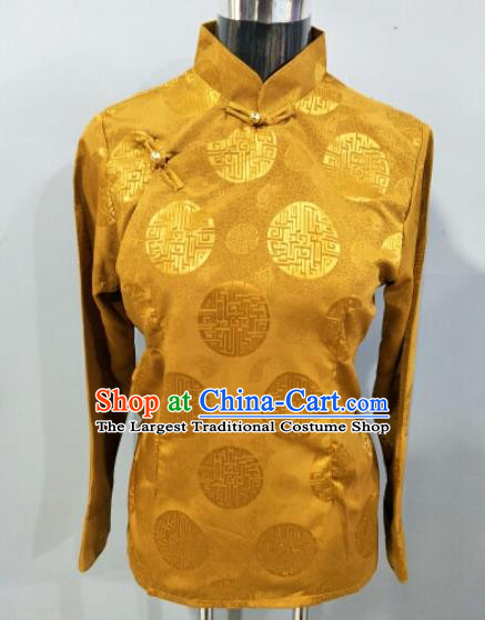 Traditional Chinese National Ethnic Tibetan Bronze Blouse Zang Nationality Folk Dance Costume for Women