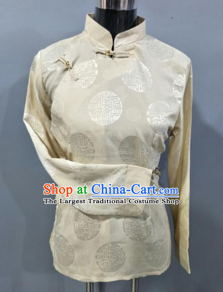 Traditional Chinese National Ethnic Tibetan Beige Blouse Zang Nationality Folk Dance Costume for Women