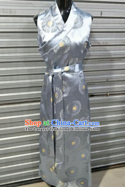 Traditional Chinese National Tibetan Ethnic Grey Brocade Dress Zang Nationality Folk Dance Costume for Women