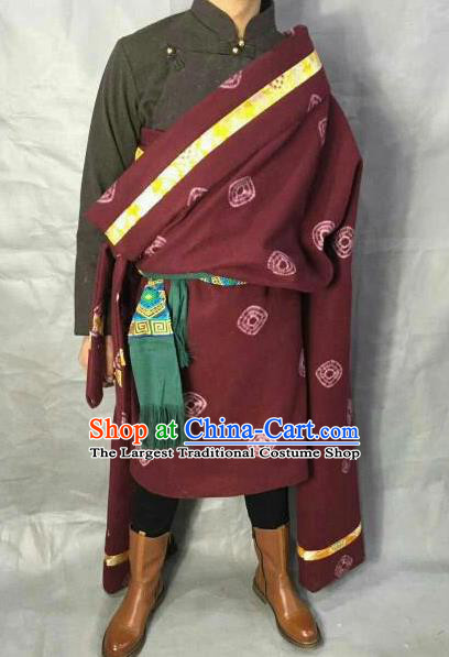 Traditional Chinese National Ethnic Wine Red Tibetan Robe Zang Nationality Folk Dance Costumes for Men