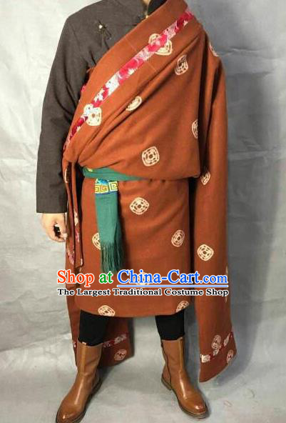 Traditional Chinese National Ethnic Orange Tibetan Robe Zang Nationality Folk Dance Costumes for Men