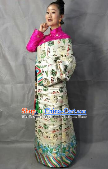 Traditional Chinese National Ethnic Bride White Brocade Tibetan Robe Zang Nationality Folk Dance Costume for Women