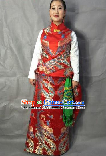 Traditional Chinese National Ethnic Bride Red Brocade Tibetan Robe Zang Nationality Folk Dance Costume for Women
