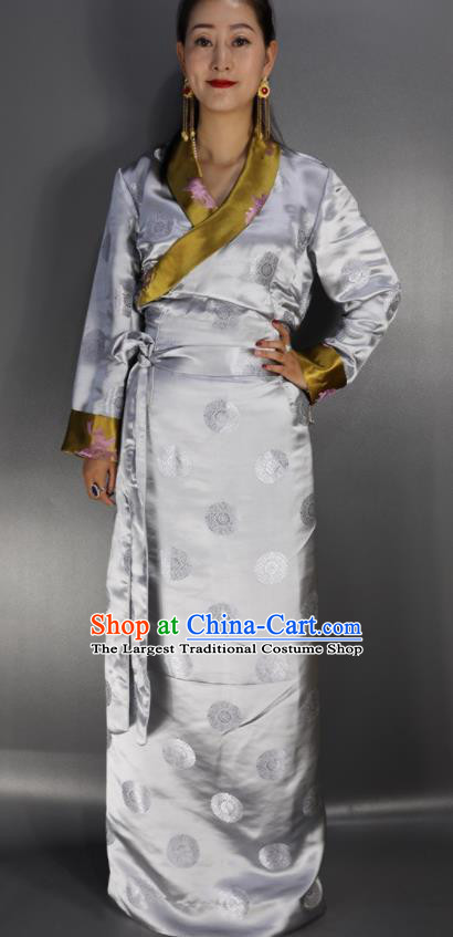 Traditional Chinese National Ethnic Grey Brocade Tibetan Dress Zang Nationality Folk Dance Costume for Women