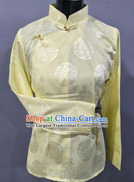 Traditional Chinese National Ethnic Tibetan Light Yellow Blouse Zang Nationality Folk Dance Costume for Women