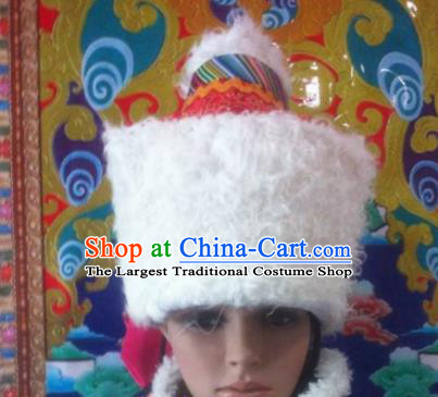 Chinese Traditional Ethnic Tibetan Lamb Wool Hat Zang Nationality Princess National Hat for Women