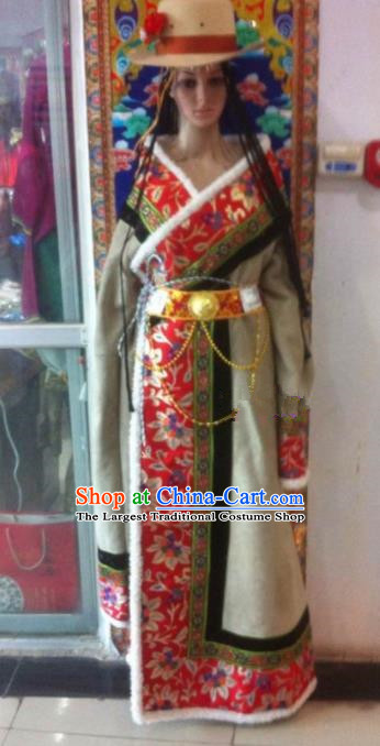 Traditional Chinese National Ethnic Winter Tibetan Robe Zang Nationality Folk Dance Costume for Women