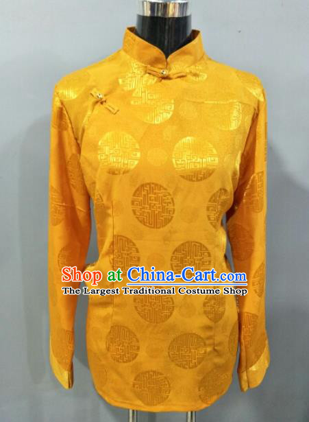 Traditional Chinese National Ethnic Tibetan Golden Blouse Zang Nationality Folk Dance Costume for Women